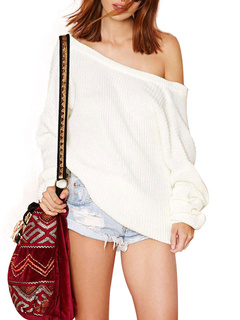 Off-The-Shoulder Oversized Pullover Sweater with Low Back