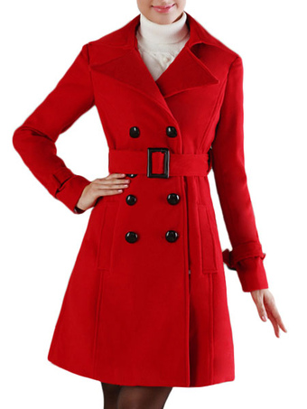 Women Trench Coat Red Wrap Coat Long Sleeve Peacoat Women Wrap Jacket