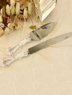 Personalized Pearl Detailing Cake Knife & Server Set for Wedding