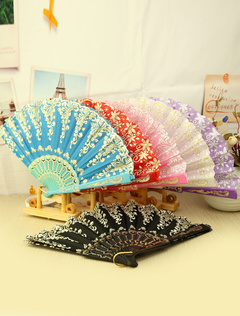 Printed Fan ( 4/Set with Random Colors )