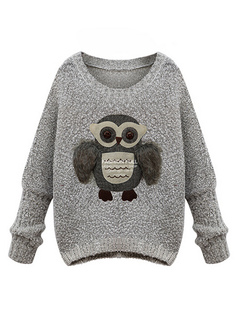 Owl Print Knitted Pullover