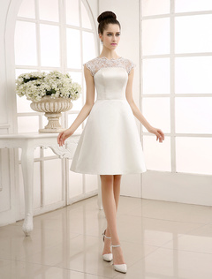 Knee-Length Ivory Reception Wedding Dress with A-Line Sheer Lace Milanoo