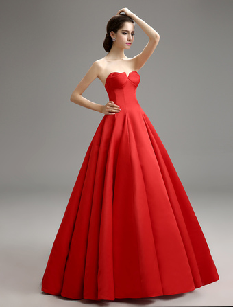 78bc3762b15 Red Vintage Strapless Pleated Ball Gown With Satin Milanoo