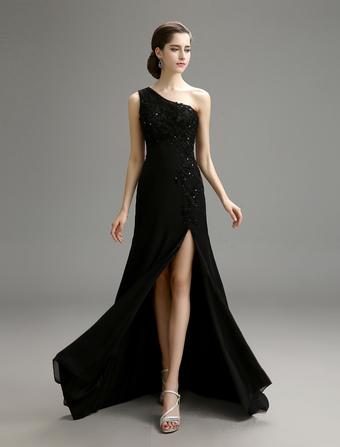 2ab47b8aac67 Matrimonio nero abito monospalla in Chiffon con fessura in alto dettaglio