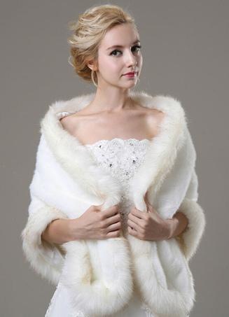 Ivory Faux Fur Wedding Shawl For Bride