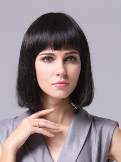 Shoulder Length Straight Human Hair Wigs