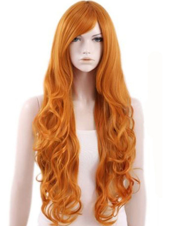 Long Wigs Women's Orange Wave Wigs In Heat-resistant Fiber