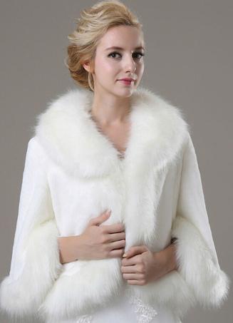 Long Sleeve Faux Fur Wedding Shawl For Bride