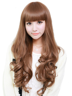 Light Brown Spiral Curls Long Wig