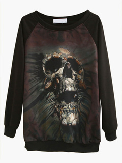 Skull Pattern Black Sweatshirt