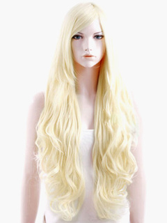 Light Gold Curly Side Parting Wig