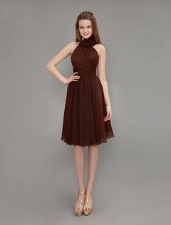 Dark Brown Chiffon Halter Short Bridesmaid Dress