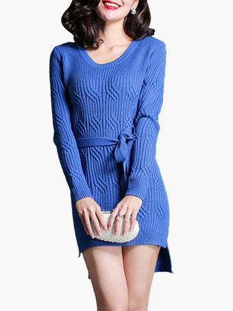 Wool Blend Sweater Dress With Stepped Hem