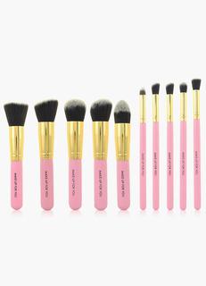 Pink 10 Pcs Mink Hair Make Up Brush Set