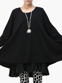 Scoop Neck Long Sleeve Oversized Dress
