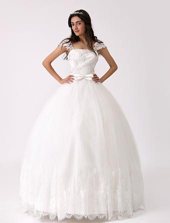 Cap Sleeve Princess Wedding Dress with Embellished Sash Milanoo