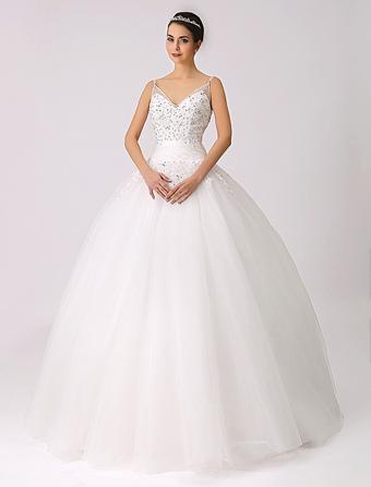 Spaghetti Straps Princess Wedding Dress with Beaded Lace Applique Milanoo