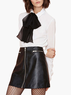 Black PU Leather Skirt With Zippers Trim