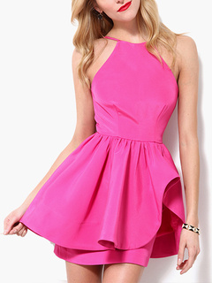 Rose Sleeveless Party Dress with Ruffles