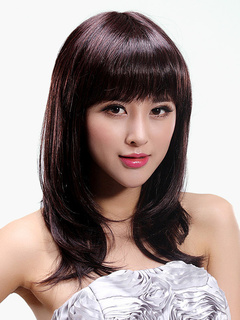 Women's Wave Wig With Bangs Medium Chestnut Brown Wigs