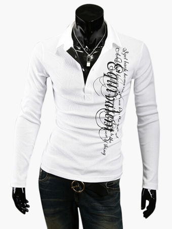 Long Sleeve Polo with Asymmetric Print in Regular Fit