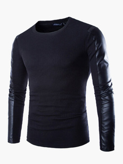 Long Sleeve T-shirt with Contrast PU Sleeves in Regular Fit