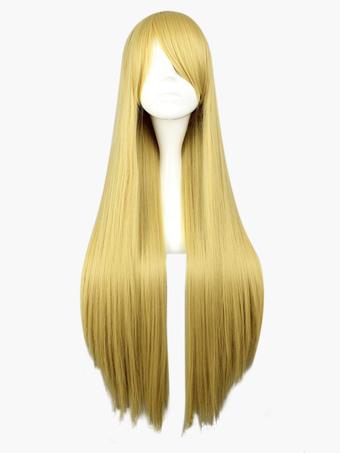 Golden Straight Heat-resistant Fiber Long Wig