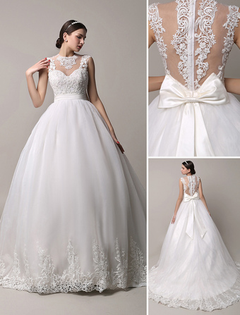 Ivory Sheer Neckline Ball Gown Wedding Dress with Illusion Lace Back  Milanoo