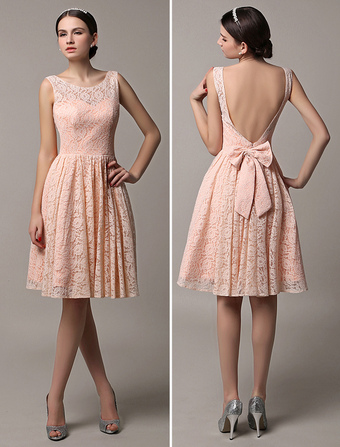 2018 Blush Pink Short Lace Illusion Scoop Back Bridesmaid Dress With Bow Wedding Guest Dress