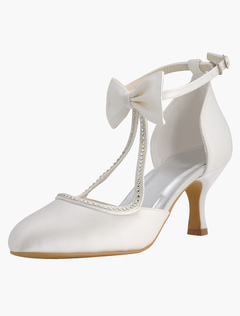 Ankle Strap Bow Rhinestones Silk And Satin Bridal Pumps