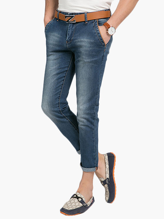 Blue Zipper Fly Denim Shorts