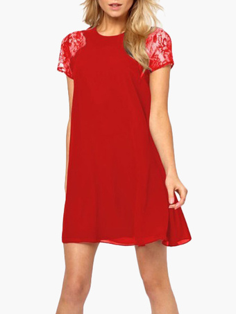 Lace Chiffon Shift Dress