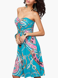 Strapless Printed Summer Dress