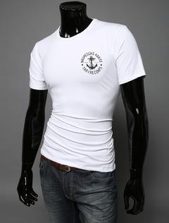 Casual Men T Shirt Letter Print Crewneck Cotton Top Solid Color Short Sleeve T Shirt