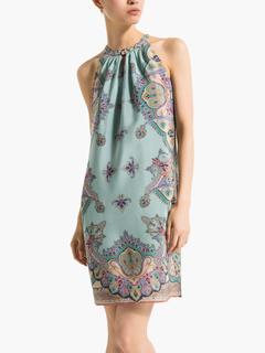 Multi Color Sleeveless Paisley Matte Satin Shift Dress