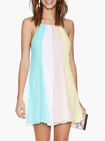Multi Color Backless Chiffon Summer Dress