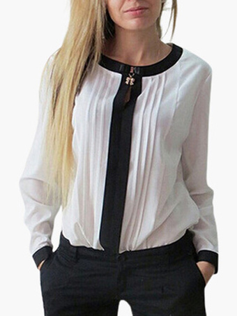 Pleated Front Scoop Neck Chiffon Blouse