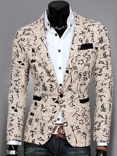 Casual Men Blazer Zigzag Print Spring Jacket Long Sleeve Button Linen Suit Jacket