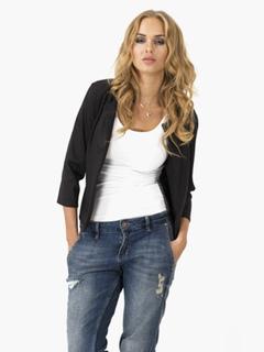 Women Casual Blazer Black Cotton Spring Coat Casual Jacket