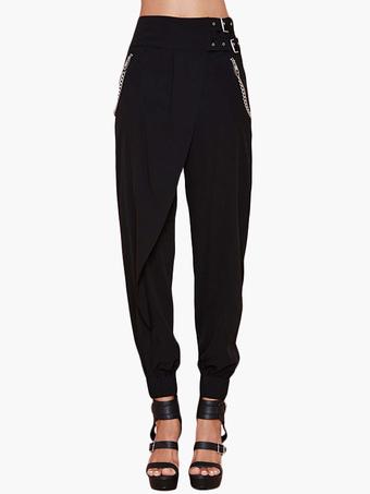 Black Zipper Polyester Casual  Pants