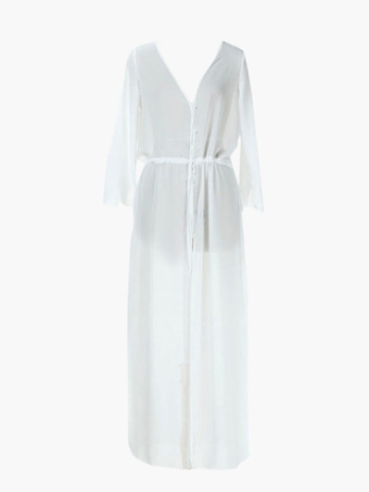 White Semi-Sheer Lace Bohelmian  Cover Up Maxi