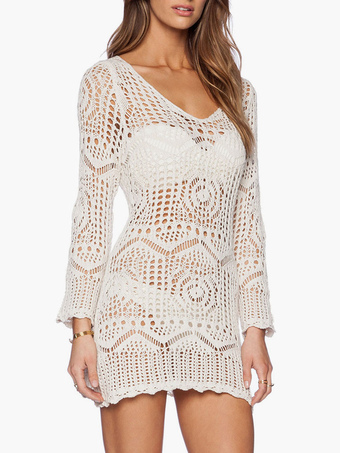 baaab2a4155f5 White Crochet Cover Up Sheer Long Sleeve Beach Bathing Suit