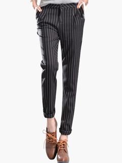 Glamour Deep Gray Stripe Cotton Fibers Pants