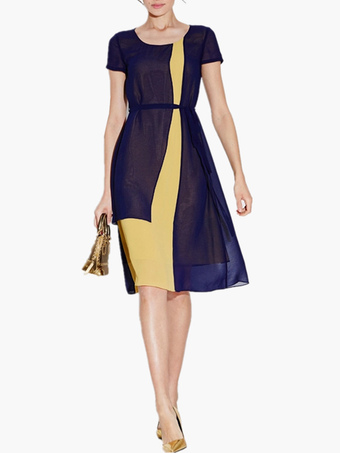 Scoop Neck Short Sleeves Two-Tone Flare Work Dress