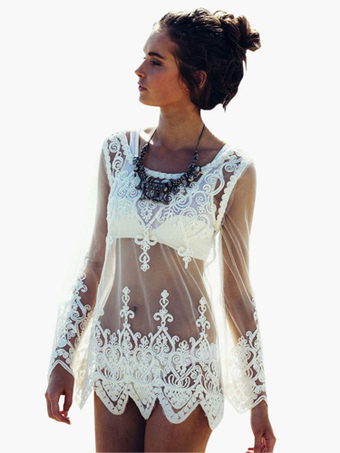 650c435f035e2 Lace Cover Up White Sheer Long Sleeve Scoop Neck Sexy Beach Swimwear For  Women