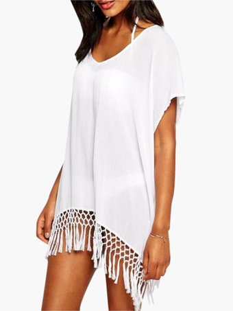 White Semi-Sheer Woven Fringe V-Neck Chiffon Cover Up