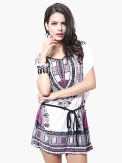 Short Sleeves Printed Chiffon Attractive Mini Summer Dress