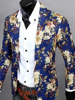 Men Blaze Floral Print Cotton Blend Blazer Jacket Men's Casual Suits