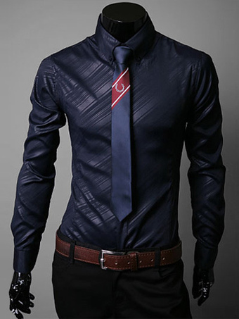 Turndown Collar Long Sleeves Shaping Cotton Blend Casual Shirt