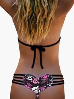 Skull Printed Heart Pattern Bikini Charming Women's Bikini Briefs